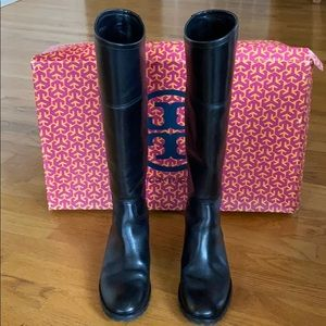 Tory Burch Riding Boots Blk leather Sz 7.5 FAB!